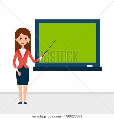 Business Lecture with Pointer and Presentation Board. Vector Illustration of Businesswoman People Character isolated over White. Flat Style Education Concept.