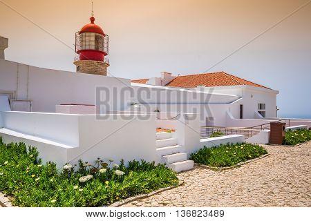Cabo Sao Vicente lighthouse on coast of Portugal near Lagos