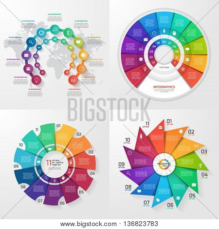 Set of four vector infographic templates. Business education industry science concept with 11 values options parts steps processes.