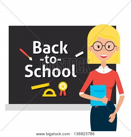 Teacher With Glasses And Book And Back To School Blackboard