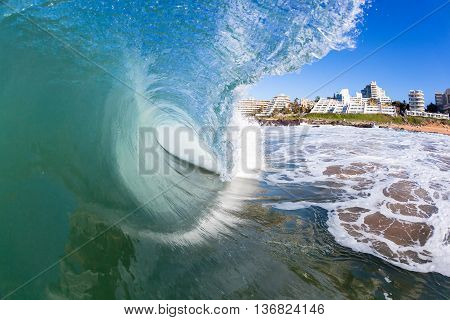 Wave inside out hollow crashing blue ocean water swimming  photo