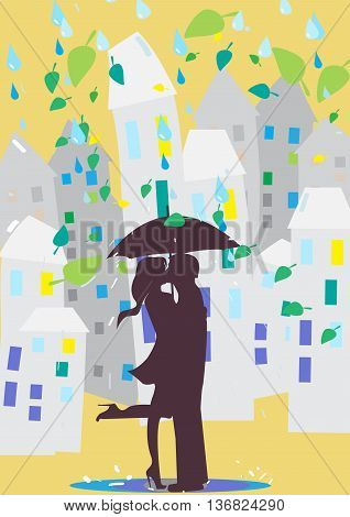 Lovers kissing under an umbrella. Rain in the city