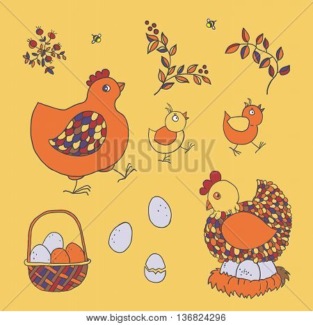 Farm set: chicken chicks basket with eggs nest twigs with leaves