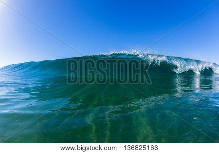 Wave crashing blue ocean water swimming photo