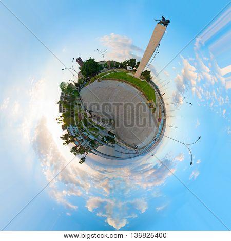 Circular 360 degrees panorama of Fertilia square Sardinia
