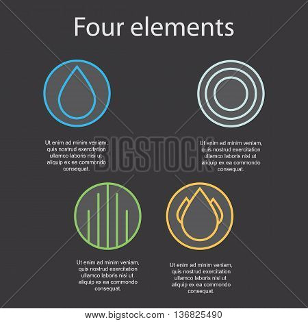 Images of the four elements on a dark background: fire water air earth. Vector illustration.