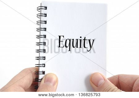 Equity text concept isolated over white background