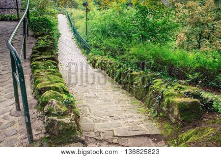 Cobblestone path in the city park of Luxembourg