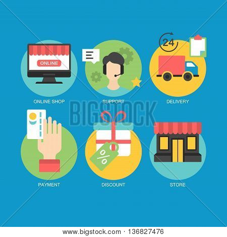 Flat icons design for online shoping delivery customer support and e-commerce