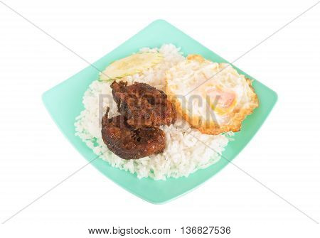 Fried spicy fish with rice and egg isolated on white background Food rainy season, Clipping path