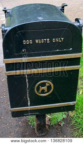 Dog waste bin, dog poop trashcan, dog waste remove in the park
