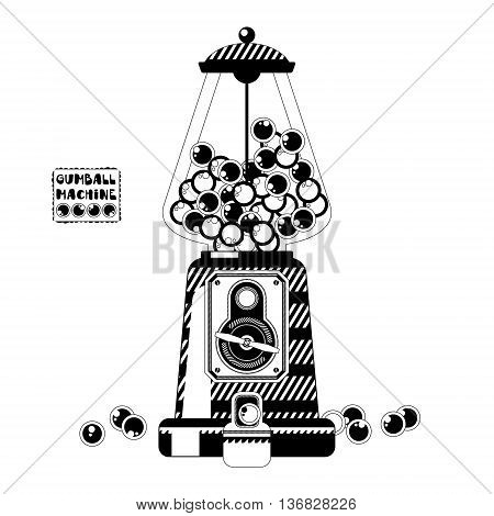 Black and white gumball machine. Vector illustration