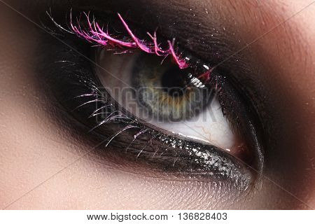 Close-up Eye With Fashion Art Make-up. Fashion Make-up And Excentric Glamour Concept