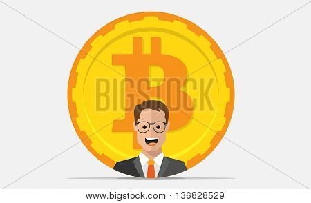 Bitcoin mining equipment. Digital Bitcoin. Golden coin with Bitcoin symbol and man.