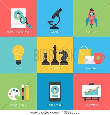 Flat icons design for modern website development