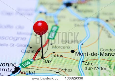 Dax pinned on a map of France