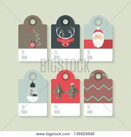 Modern Christmas gift tag flat stylish design. Set of Christmas tags with Santa deer light bulb and telephone