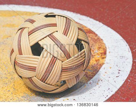 Old Sepak Takraw ball on street sepak takraw court