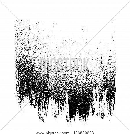 Black and white grunge vector background like brush strokes, drips and splashes