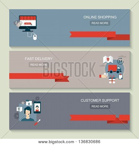 Website header design for online shoping fast delivery customer support and e-commerce concept with flat icons