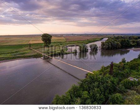 Suspension Bridge Aerial View