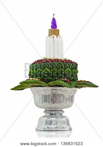 Flower decorated on tray with pedestal isolated on white background