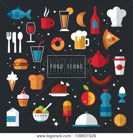 Food flat icons design for stylish menu or web application