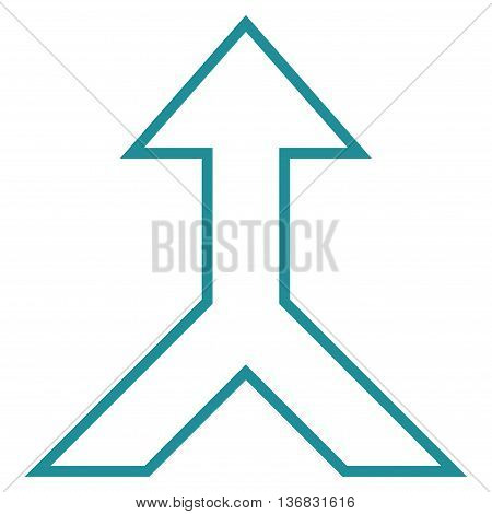 Combine Arrow Up vector icon. Style is thin line icon symbol, soft blue color, white background.