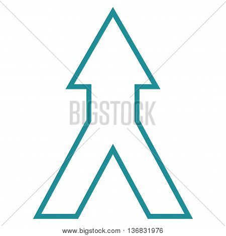 Connect Arrow Up vector icon. Style is contour icon symbol, soft blue color, white background.
