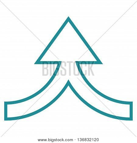 Connection Arrow Up vector icon. Style is contour icon symbol, soft blue color, white background.