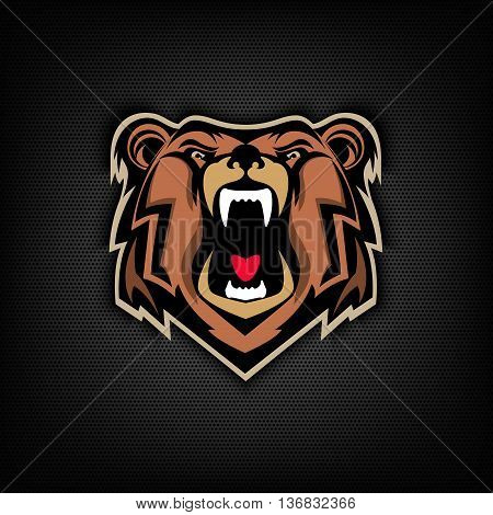 head of Angry bear on dark background. Sport team or club emblem template. Design element for logo label sign badge. Vector illustration.