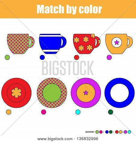 Matching pairs game for kids. Find the right pair for each cup and plate children educational game