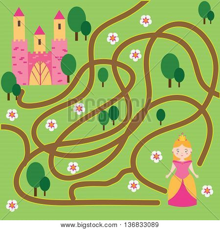 Maze children game: help the princess go through the labyrinth and find her castle