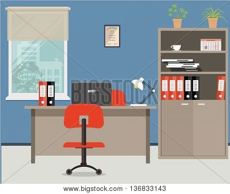 Workplace of office worker. Vector flat illustration. On the picture the desktop, case for documents, a chairs, the  computer and other objects in red colors are situated on a window background