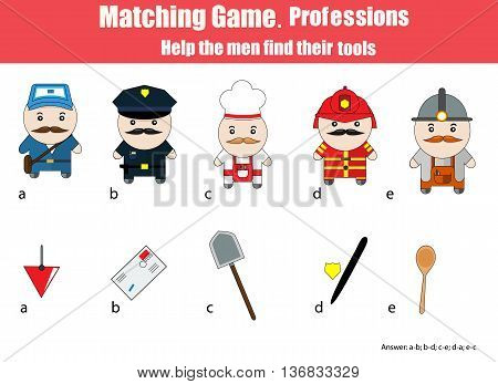 Match men with objects children education game. Learning professions theme for kids books worksheets with answer