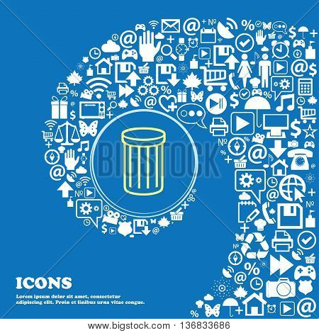 Recycle Bin Sign Icon. Symbol . Nice Set Of Beautiful Icons Twisted Spiral Into The Center Of One La