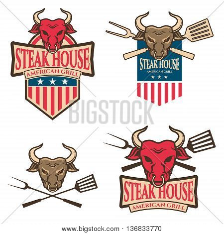 steak house labels. Bull head with cooking tools. Design element for logo label sign badge. Vector illustration.