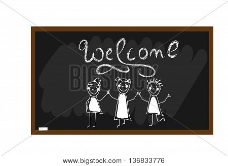Welcom lettering. The children draw chalk on a blackboard. Happy and fun children. Hand draw. Doodle, hand drawn sketch, scribble. Vector illustration