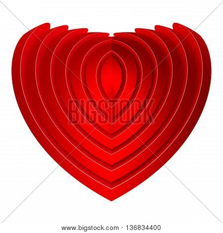 Red embossed heart isolated on white background