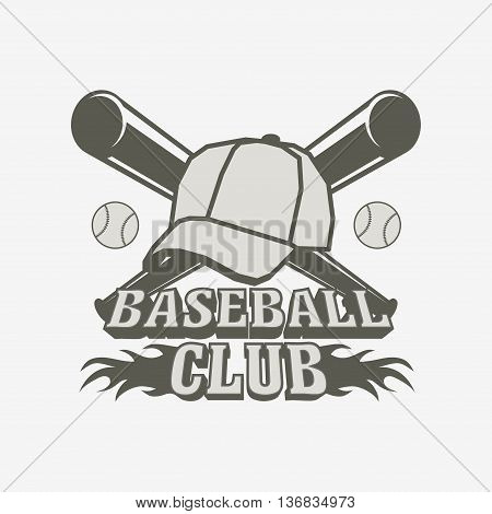 Baseball Logo, Badge Or Label Design Template With Baseball Balls,  Cap And Two Bats
