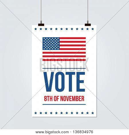 United States presidential election 2016 abstract vote poster with USA flag.