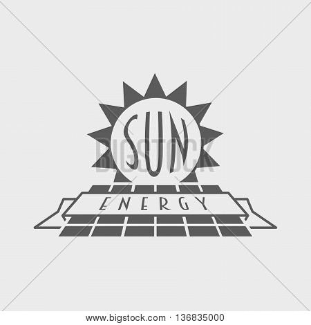 Sun Energy Logo, Label Or Symbol Design Concept With Solar Panel And Sun