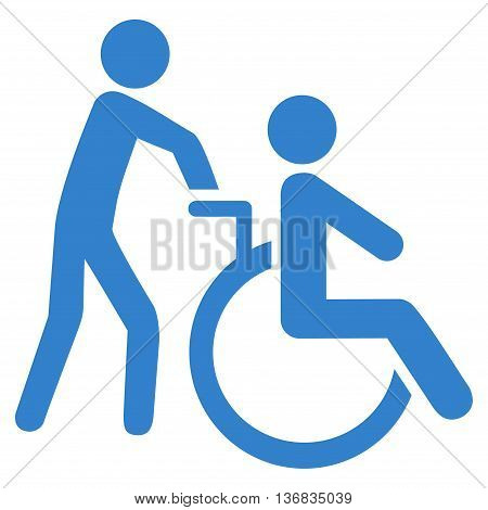 Disabled Person Transportation vector icon. Style is flat icon symbol with rounded angles, cobalt color, white background.