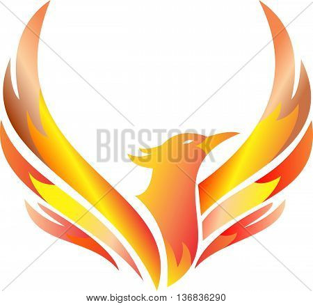 logo phoenix flying with flaming wings like burn