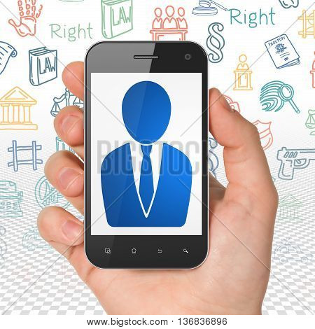 Law concept: Hand Holding Smartphone with  blue Business Man icon on display,  Hand Drawn Law Icons background, 3D rendering