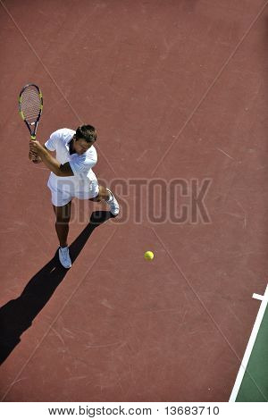 Young Man Play Tennis