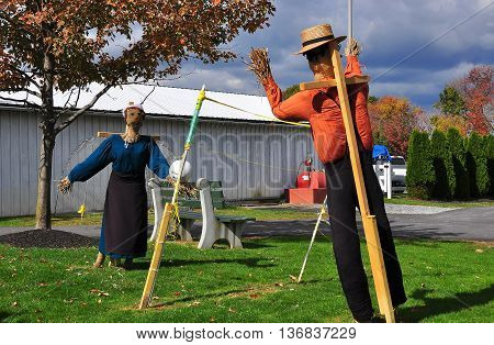 Lancaster Pennsylvania - October 18 2015: Scarecrows playing volleyball on a lawn at the Amish Farm and House Museum *