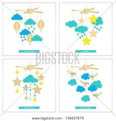 Newborn card. Illustration of baby mobile: stars clouds airplanes and balloons. Isolated baby mobile for scrap booking cards baby shower. Vector baby mobile set.