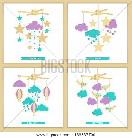 Childbirth card. Baby shower invitation. Vector baby mobile for baby card design. Vector hanging baby toy. Isolated baby mobile set.