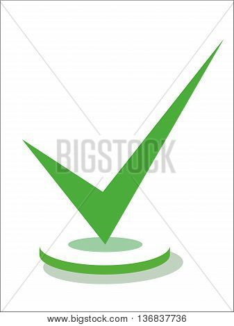 Pointed green checkmark on circle isolated on white